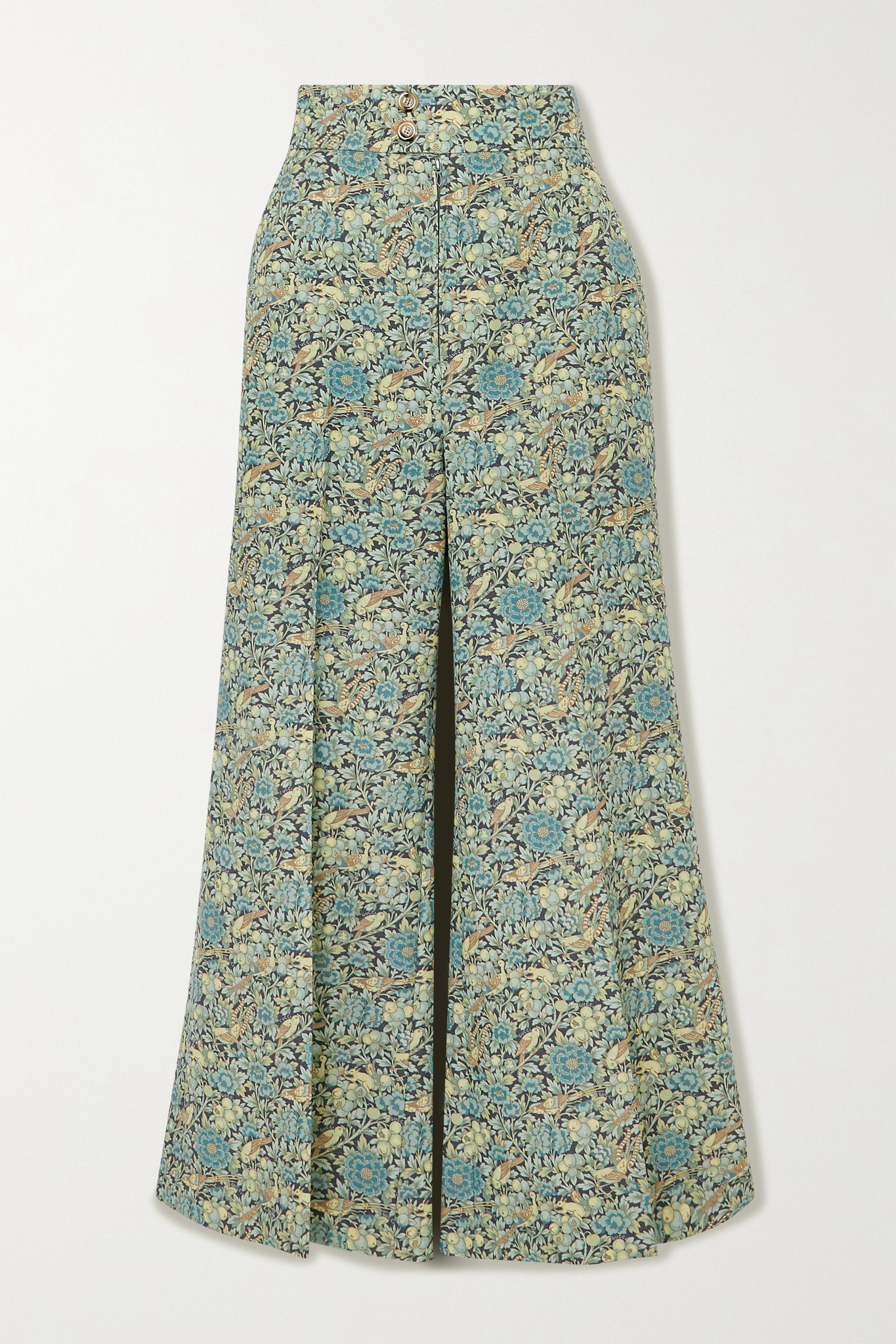 GUCCI - Cropped Floral-print Wool And Mohair-blend Wide-leg Pants - Green - IT42
