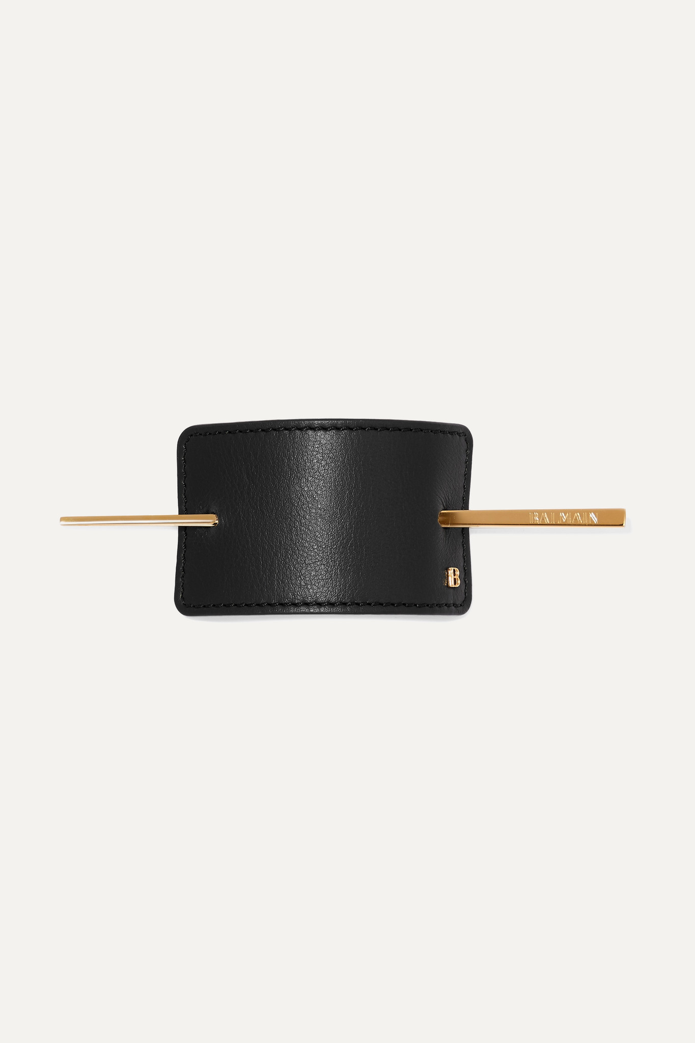 BALMAIN PARIS HAIR COUTURE - Gold-tone And Leather Hairclip - Black - one size