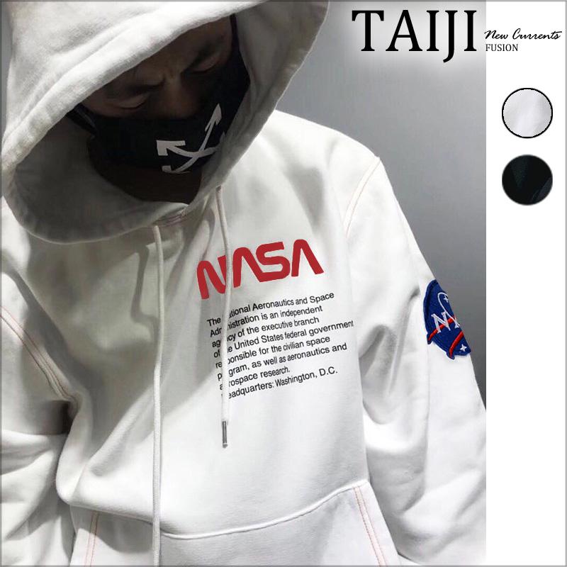 潮流帽T‧NASA美國國旗貼章前口袋潮流帽T‧2色【NTJSX043】-TAIJI
