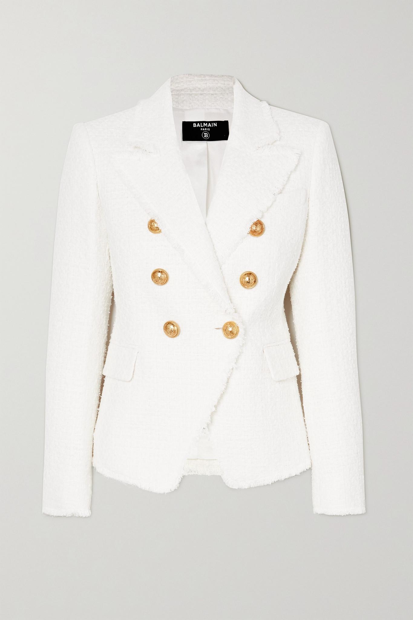BALMAIN - 双排扣棉质混纺花呢西装外套 - 白色 - FR36