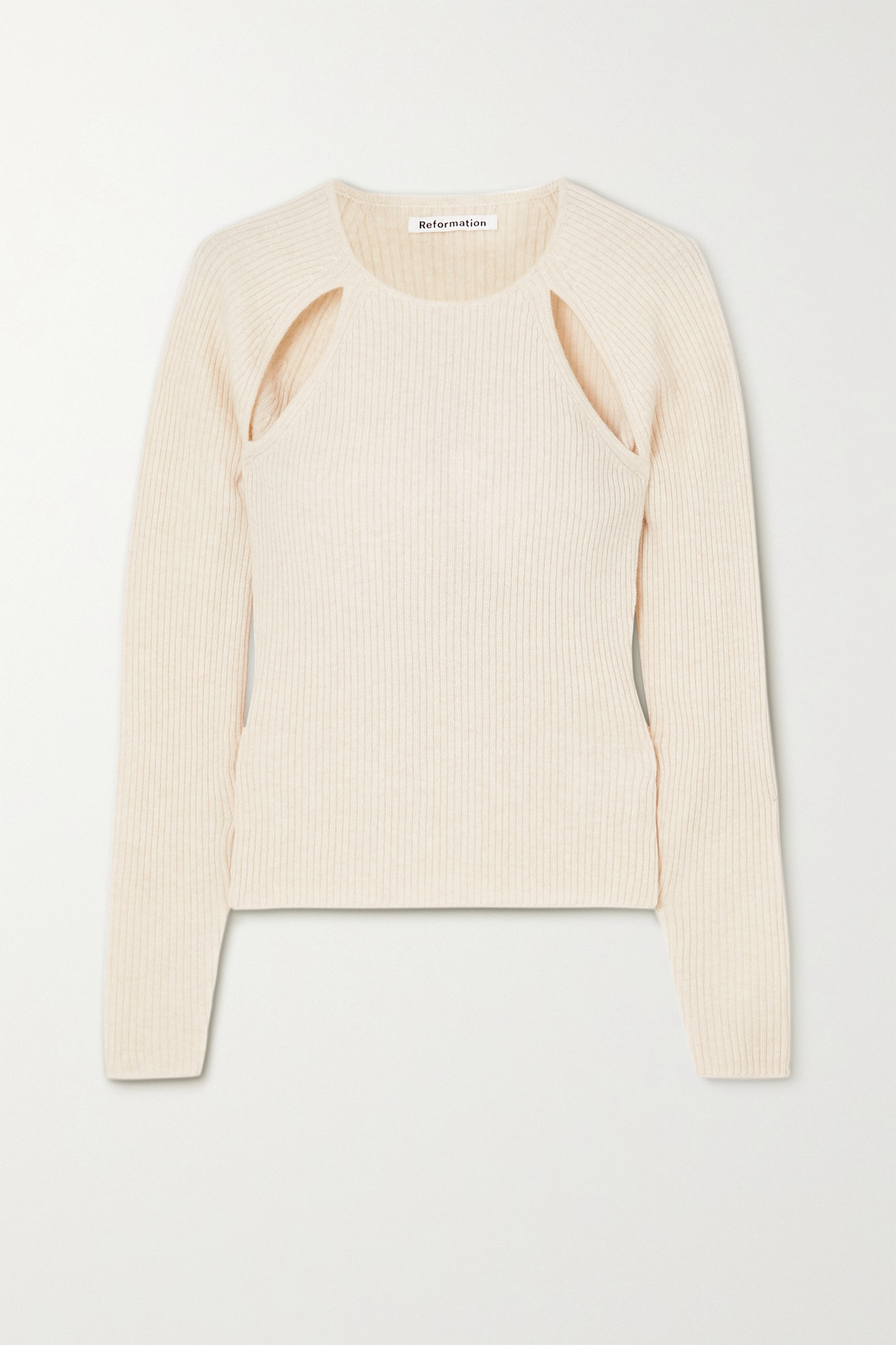 REFORMATION - + Net Sustain Basilica Cutout Ribbed Recycled Cashmere-blend Sweater - Ivory - medium