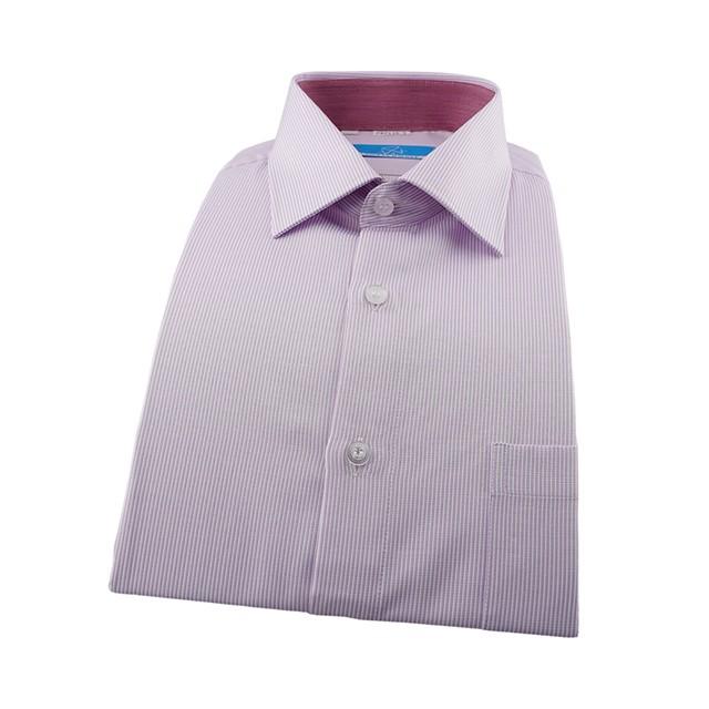 襯衫工房 合身長袖襯衫87135-03 粉紅色細條紋