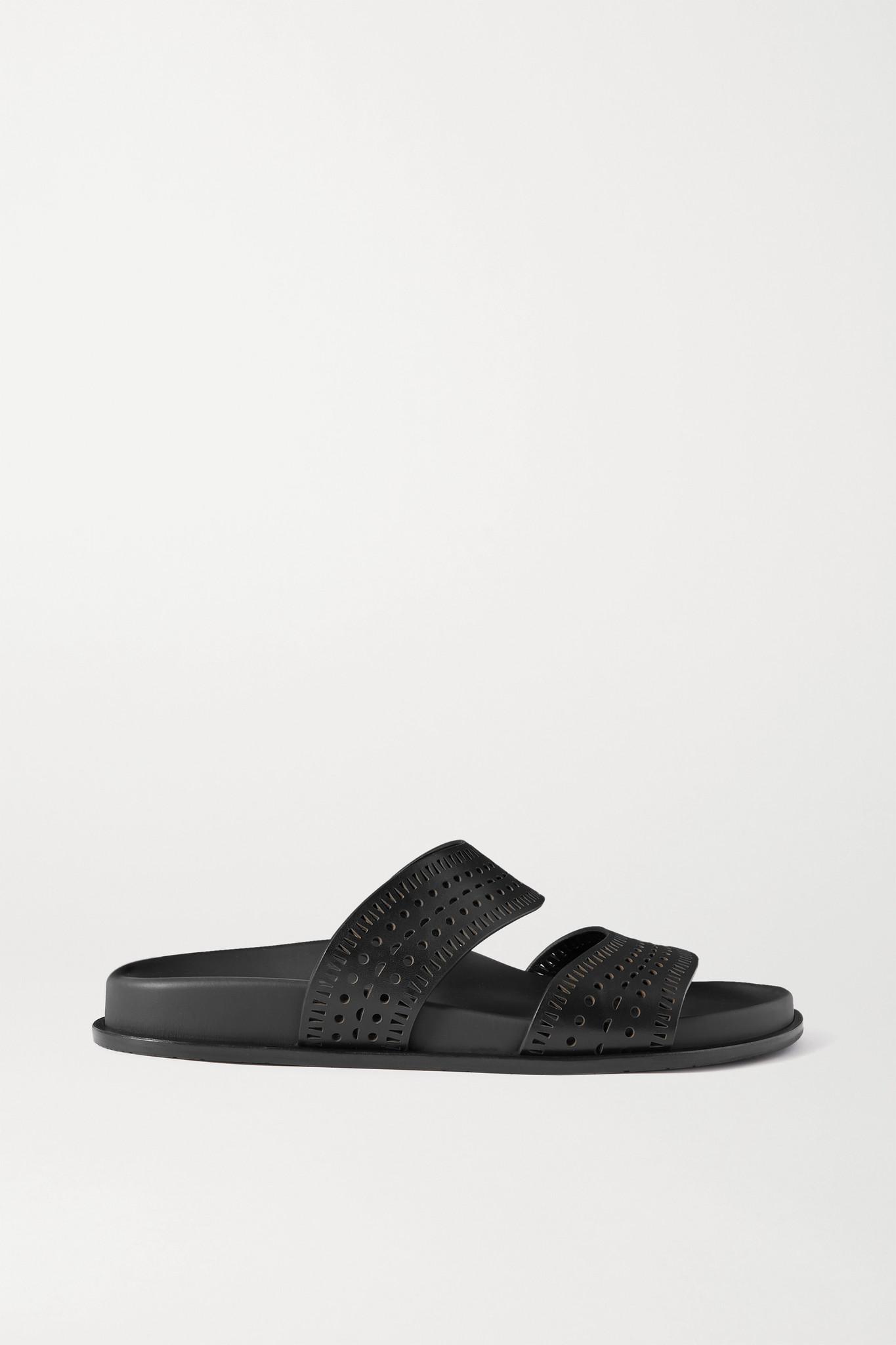 ALAÏA - Laser-cut Leather Slides - Black - IT35