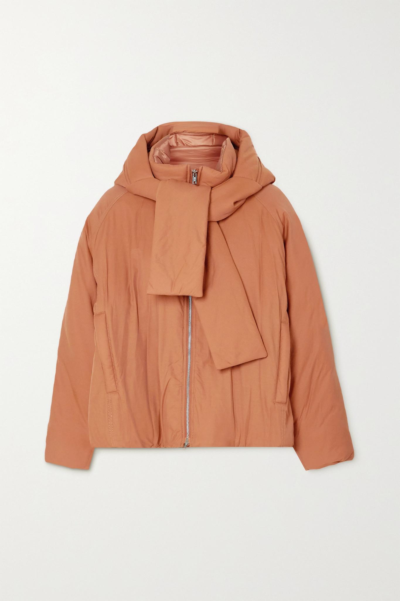 3.1 PHILLIP LIM - 系带细节带填充物棉质混纺软壳面料连帽夹克 - 棕色 - small