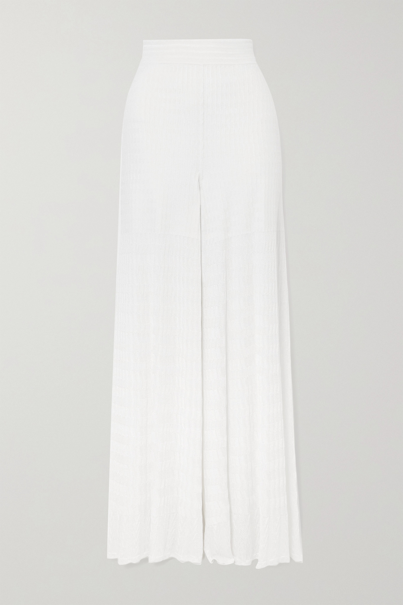 ALAÏA - Editions Knitted Wide-leg Pants - White - FR40