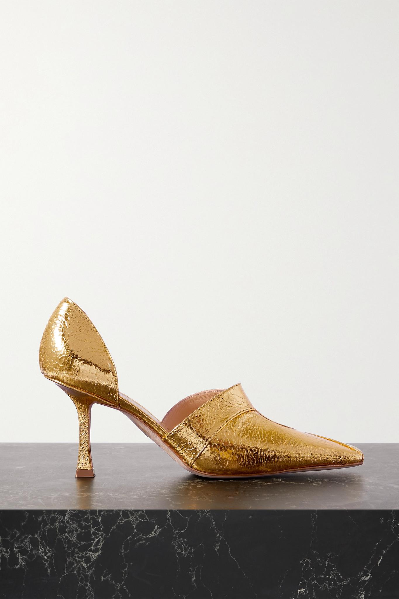 A.W.A.K.E. MODE - Loretta 挖剪金属感人造纹理皮革高跟鞋 - 金色 - IT38
