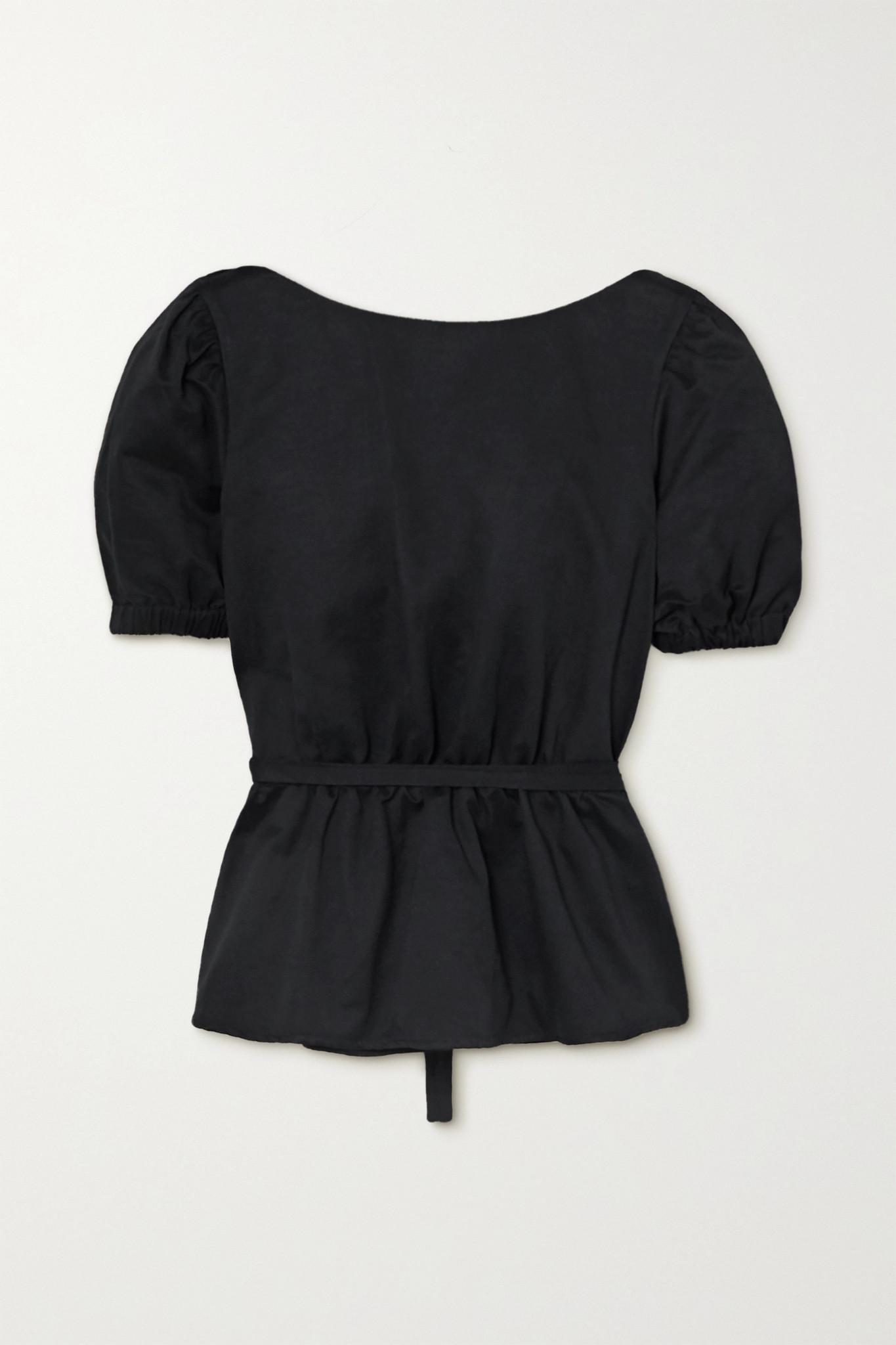 STAUD - Marie 露背棉质混纺罗缎荷叶腰摆上衣 - 黑色 - small