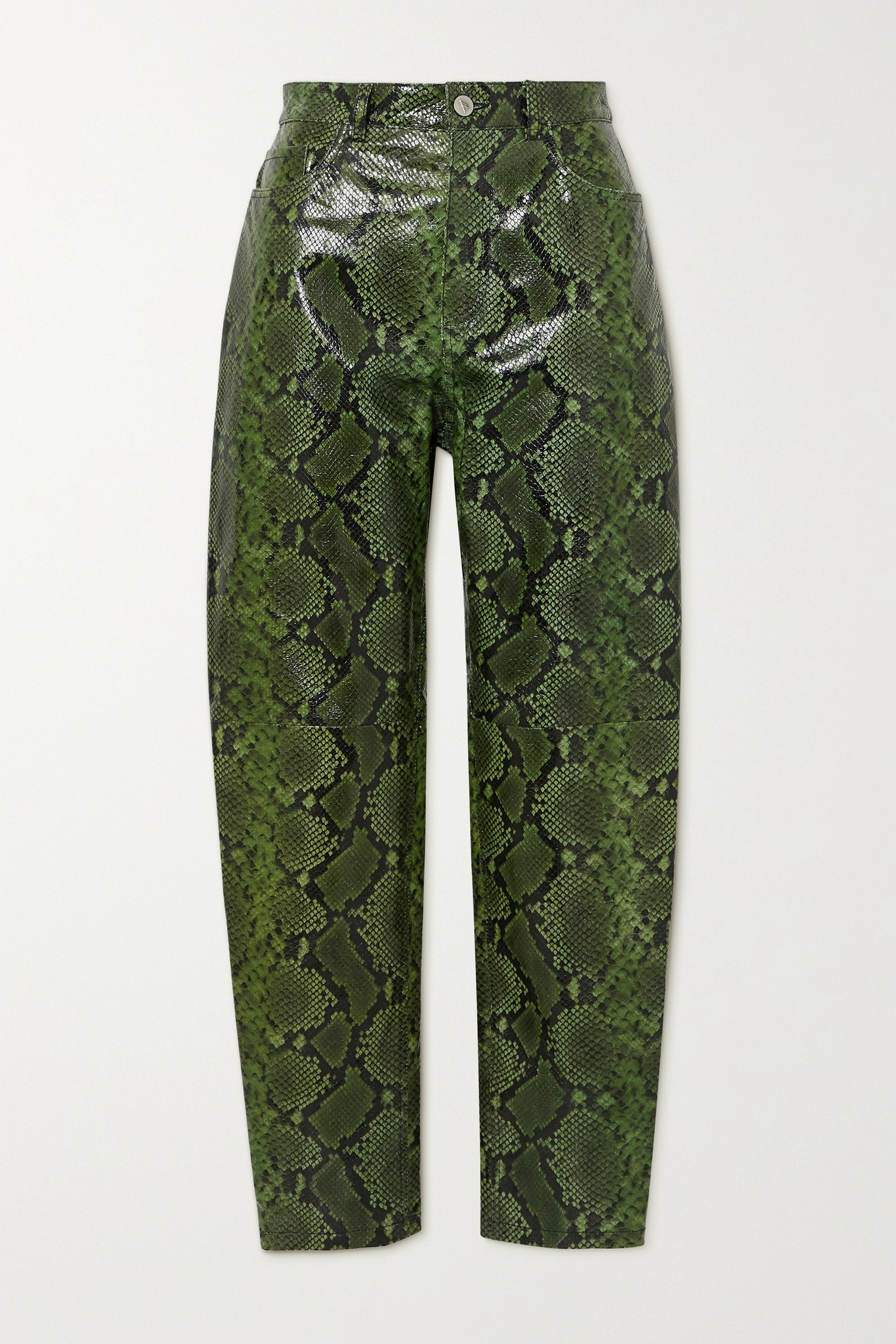 THE ATTICO - Snake-effect Leather Tapered Pants - Green - IT42