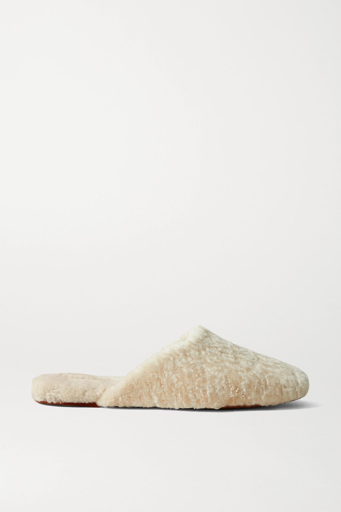 VINCE - Caela 羊毛皮拖鞋 - 奶油色 - US6