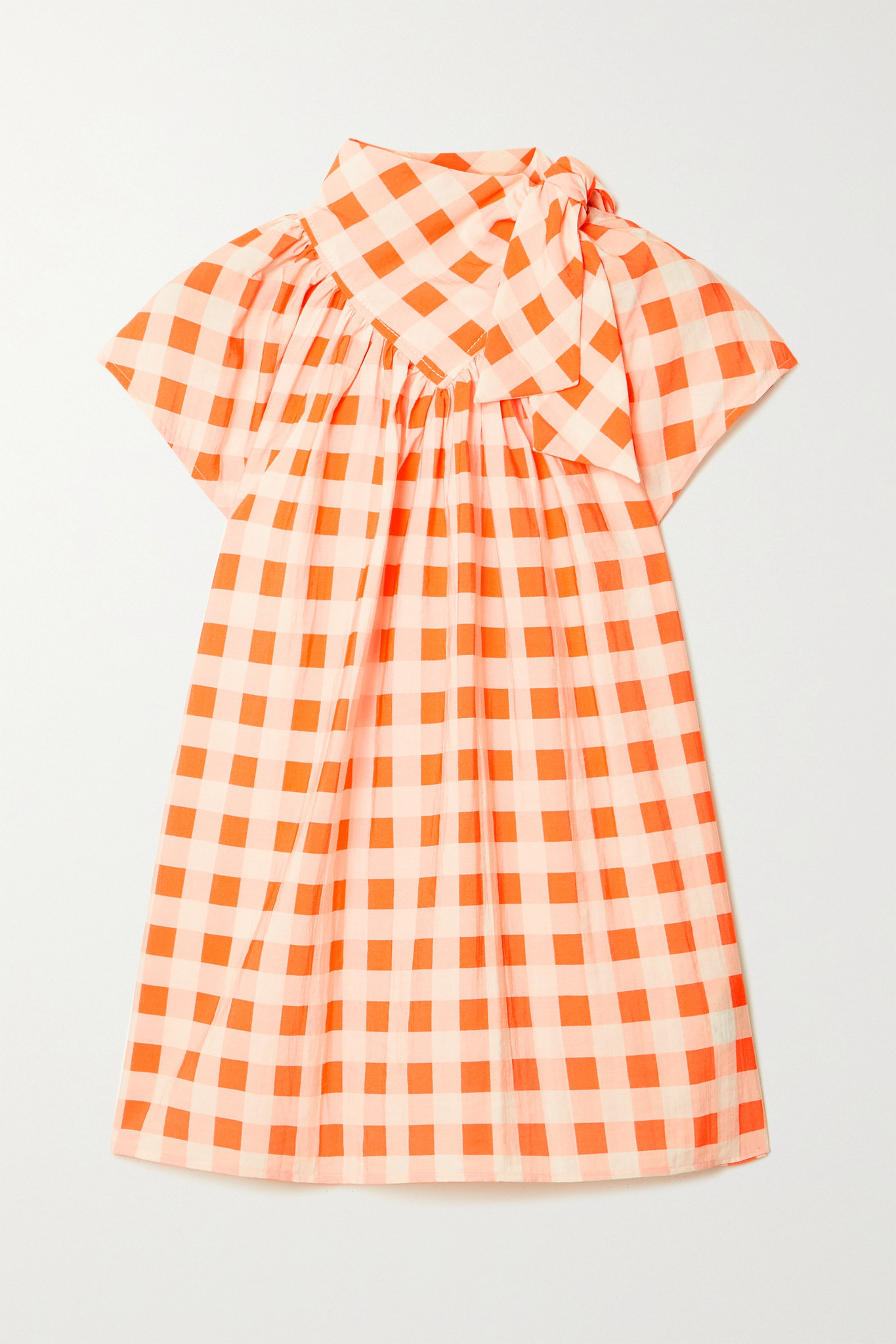 VICTORIA, VICTORIA BECKHAM - Bow-detailed Gingham Crepe Top - Orange - UK12