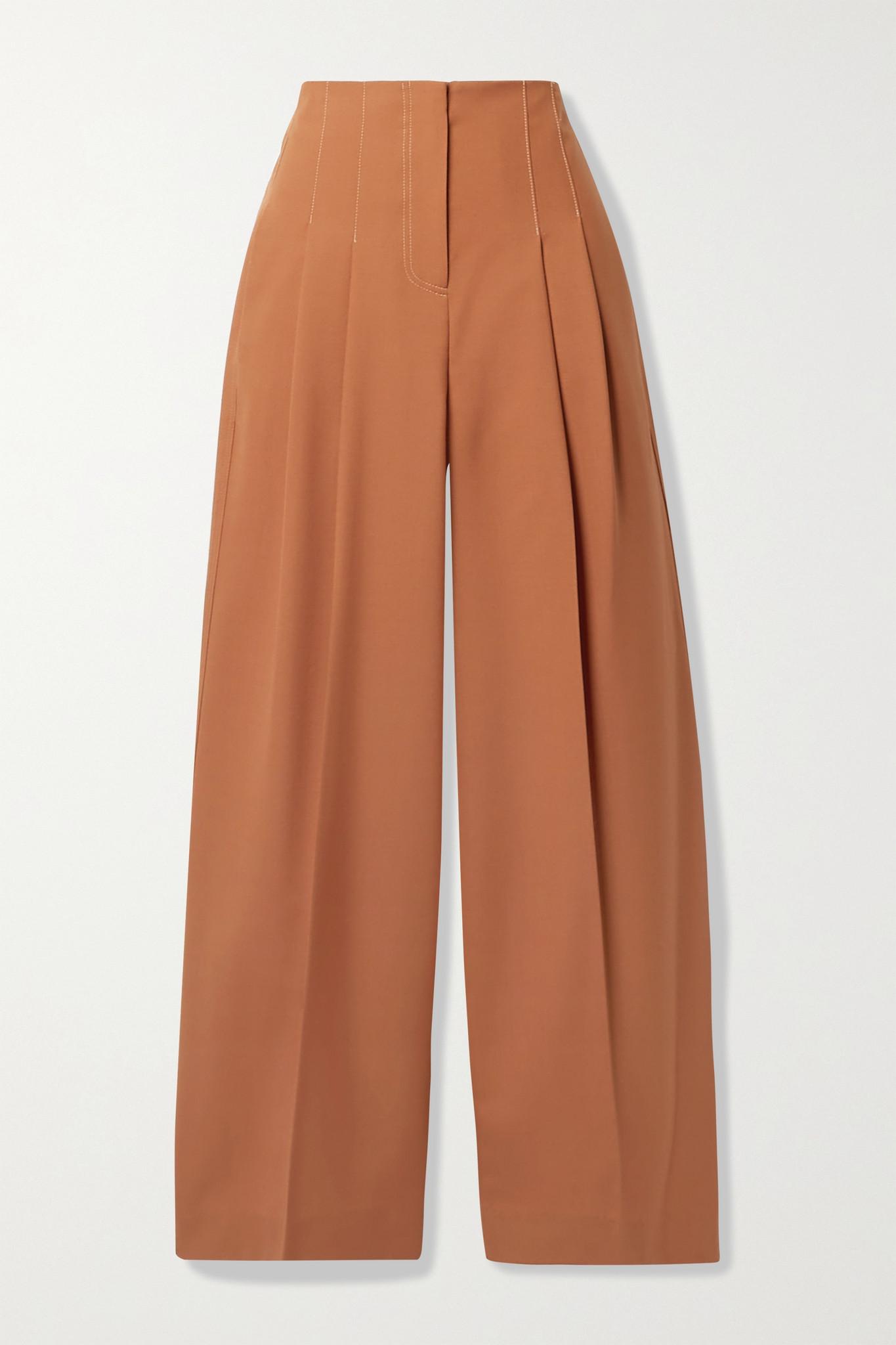 LVIR - 褶裥羊毛混纺阔腿裤 - 橙色 - small