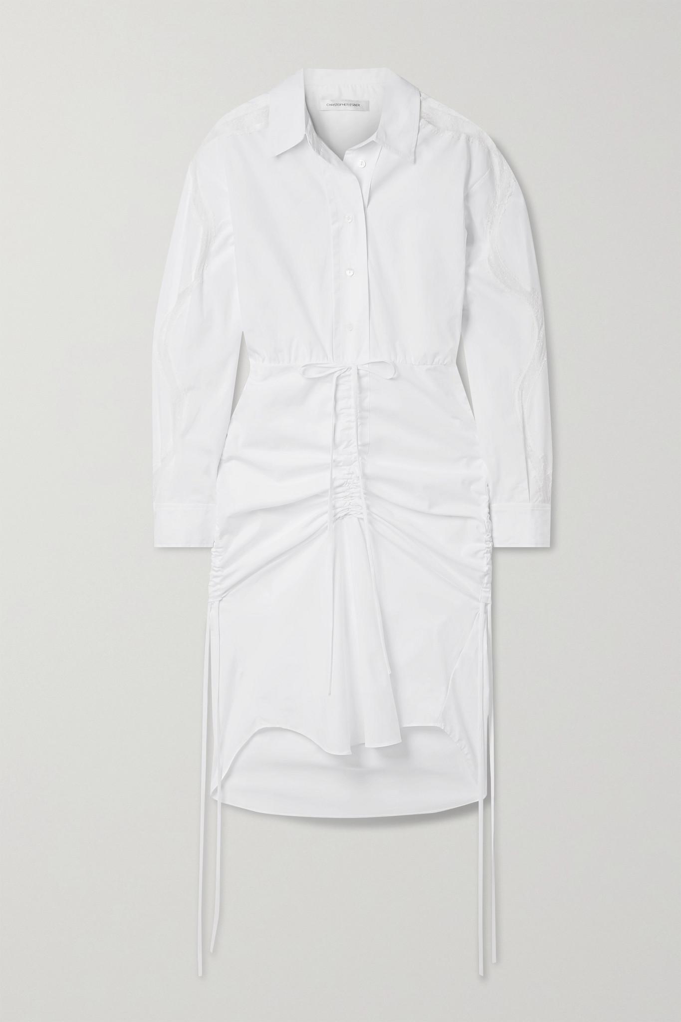 CHRISTOPHER ESBER - Cummerbund Lace-trimmed Ruched Cotton-poplin Shirt Dress - White - UK10