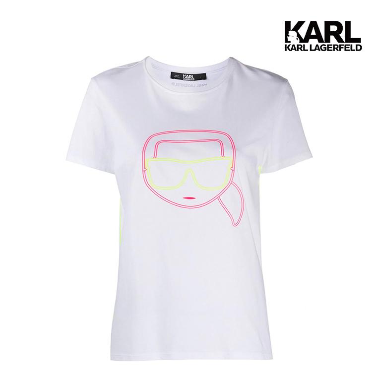 【KARL LAGERFELD】IKONIK霓虹T恤-白  (原廠公司貨)