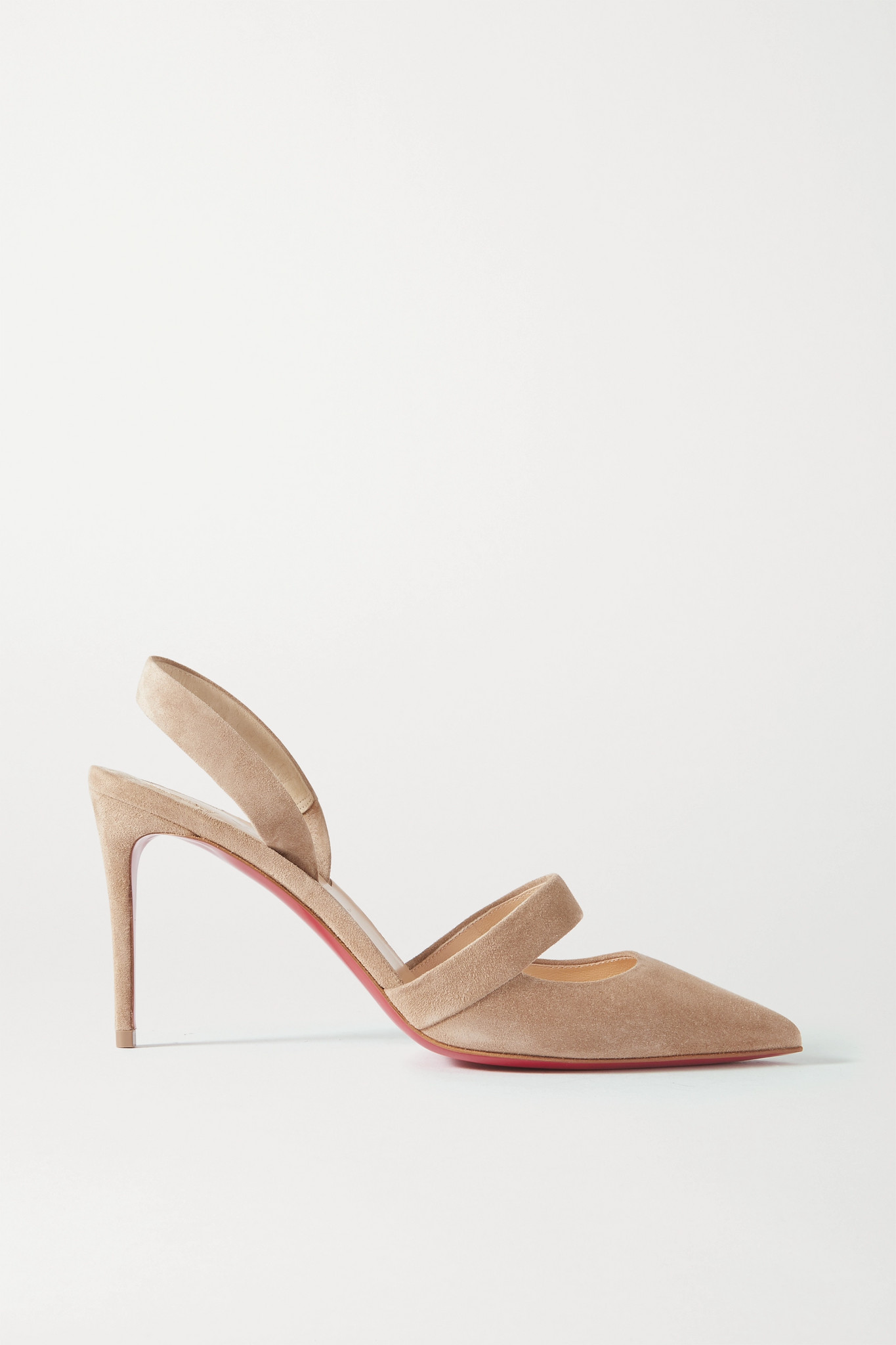 CHRISTIAN LOUBOUTIN - Actina 85 绒面革露跟高跟鞋 - 中性色 - IT35.5