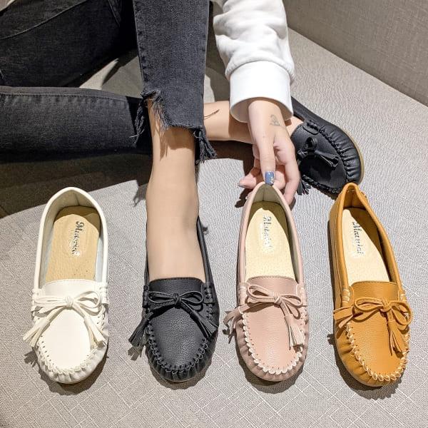 【36-43全尺碼】豆豆鞋.MIT百搭舒適柔軟蝴蝶結平底圓頭莫卡辛鞋.白鳥麗子