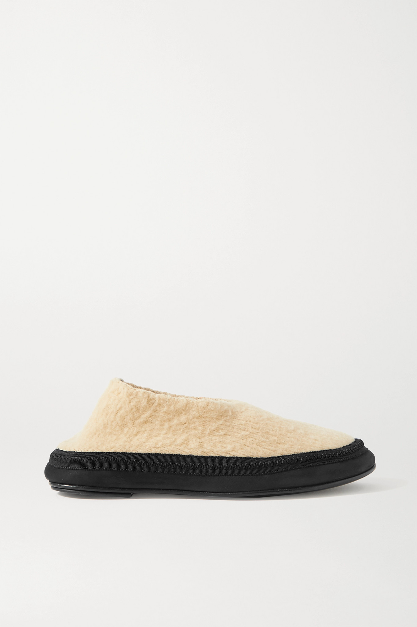 THE ROW - Fairy Grosgrain And Suede-trimmed Cashmere Slippers - Cream - IT37.5