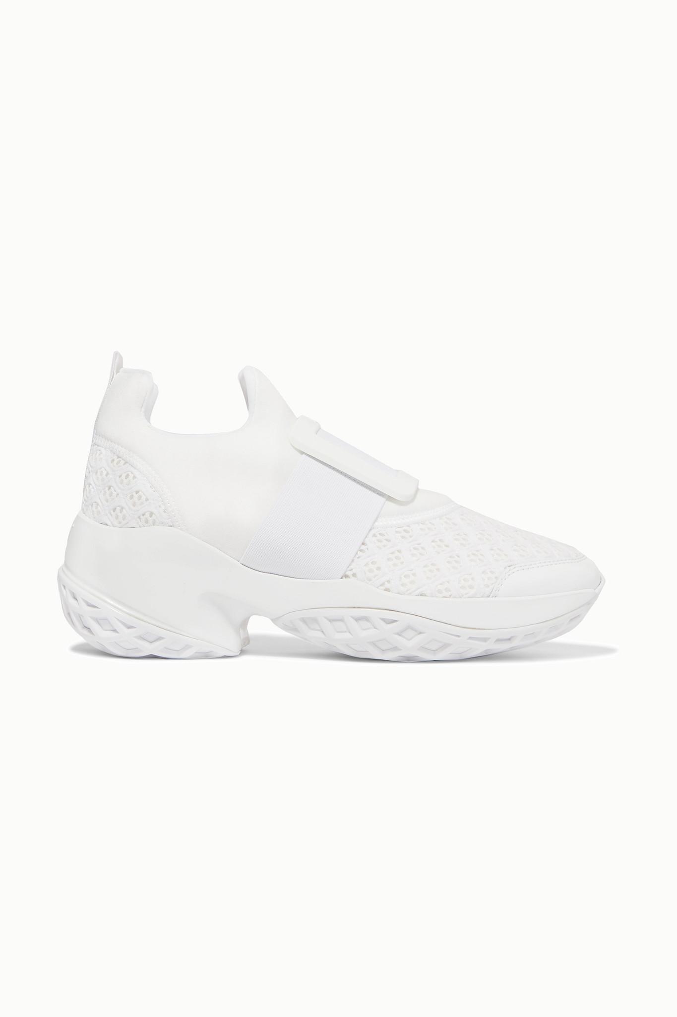 ROGER VIVIER - Viv Run 氯丁橡胶网眼皮革运动鞋 - 白色 - IT41