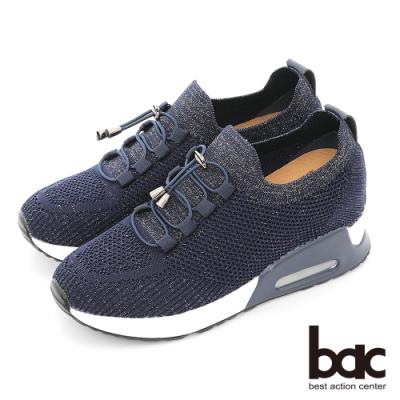 【bac】金蔥飛織布懶人厚底休閒鞋-深藍