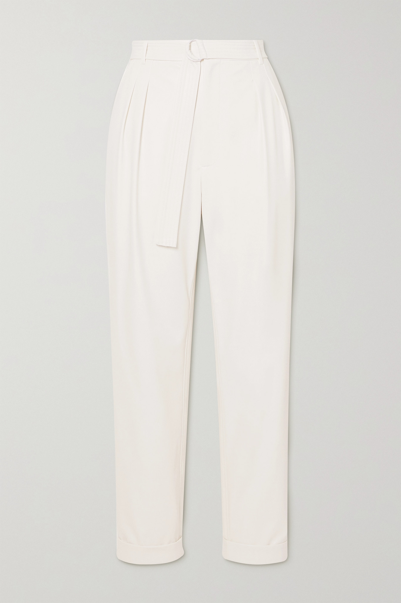 LAPOINTE - Belted Pleated Faux Stretch-leather Tapered Pants - White - US4