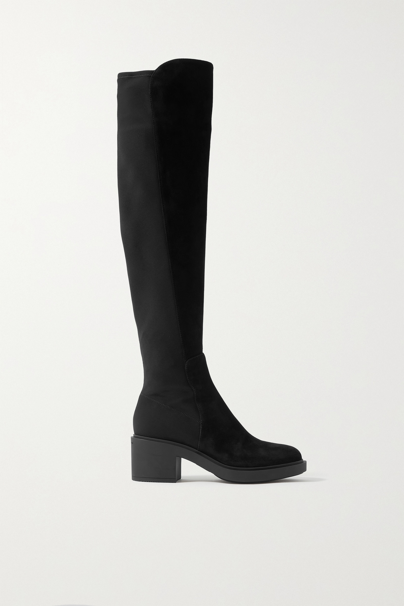 GIANVITO ROSSI - 45 Suede And Neoprene Knee Boots - Black - IT39