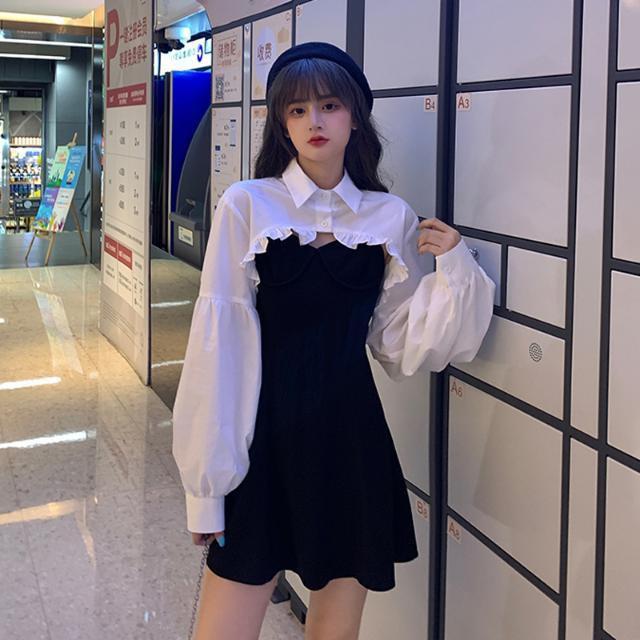 *热卖现货*秋季2020新款設計感法式燈籠袖短款寬松長袖襯衫吊帶裙兩件套女裝