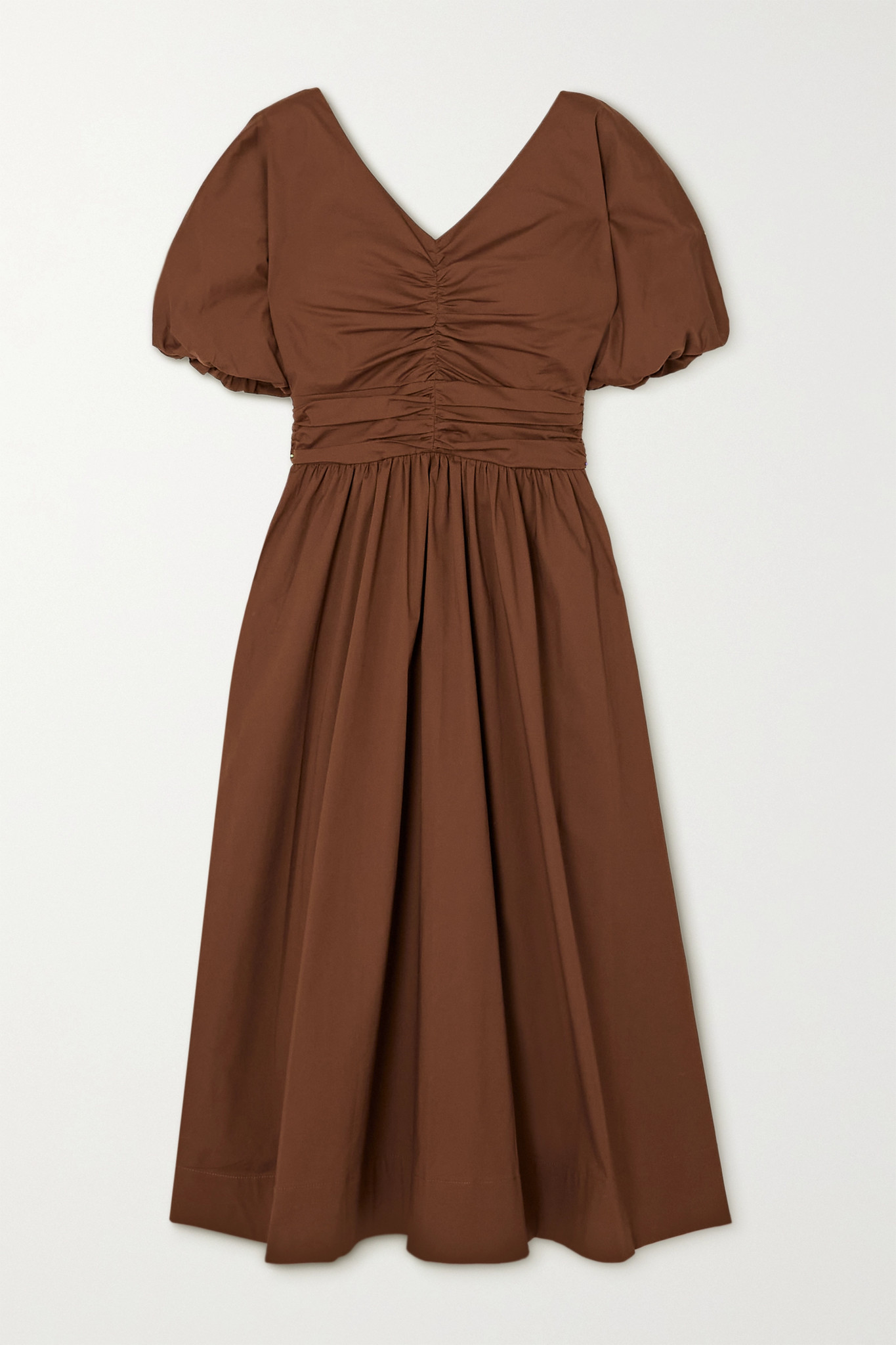 STAUD - Greta Ruched Pleated Cotton-blend Poplin Dress - Brown - US2