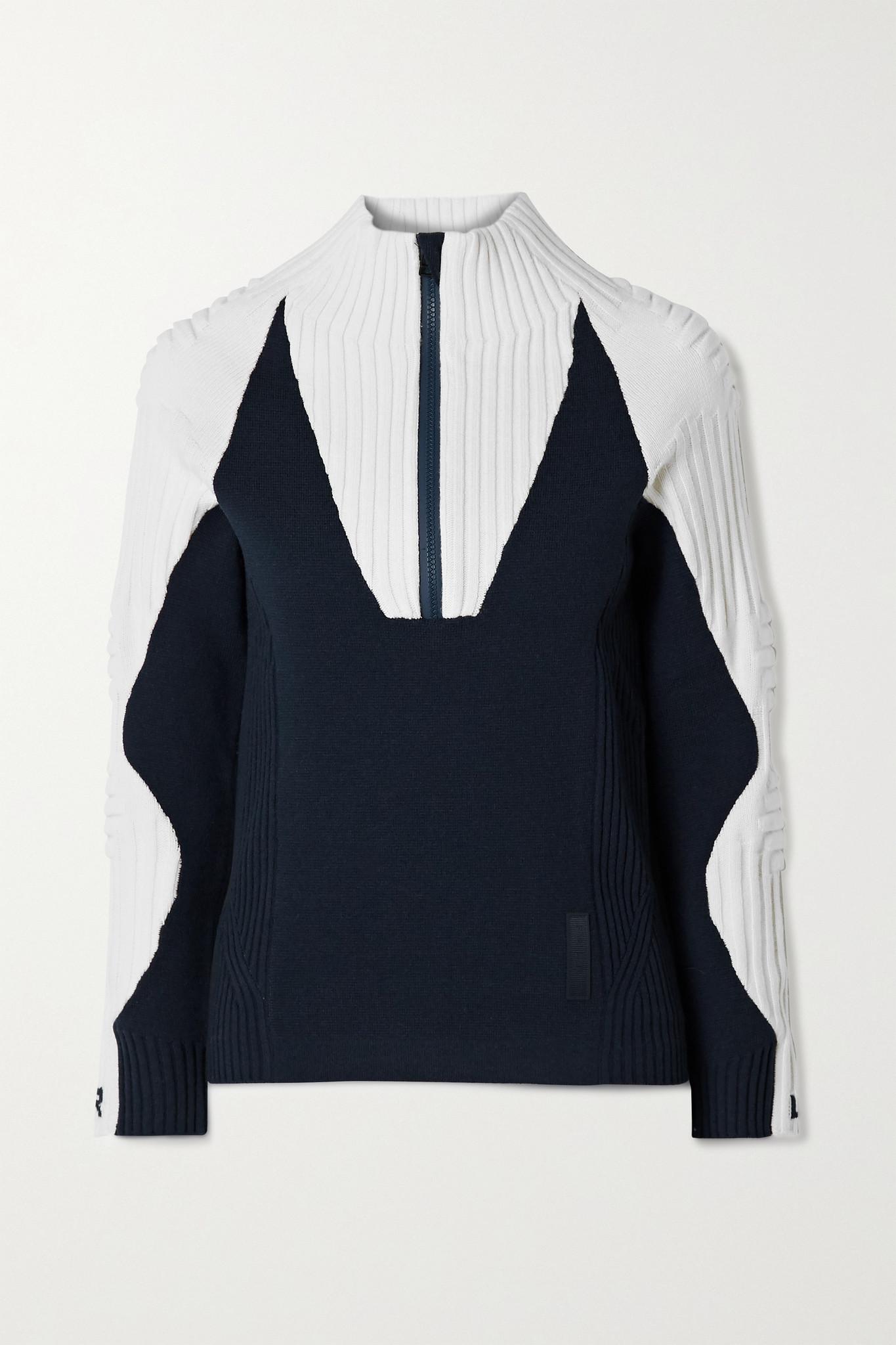 FALKE ERGONOMIC SPORT SYSTEM - Ribbed Wool-blend Sweater - Blue - small