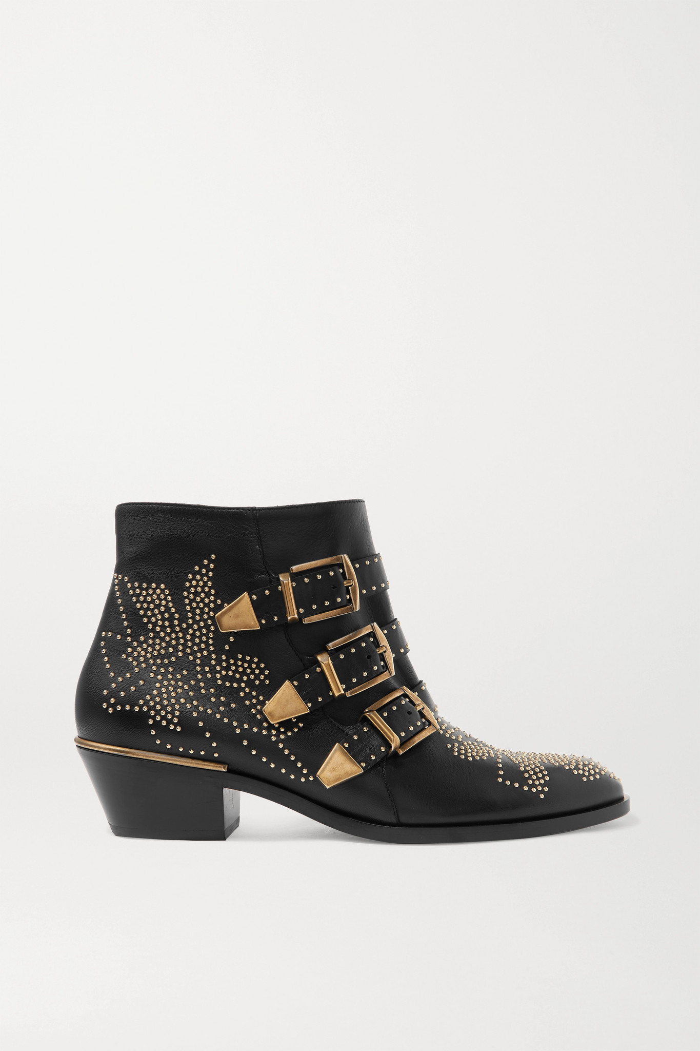 CHLOÉ - Susanna 铆钉皮革踝靴 - 黑色 - IT42