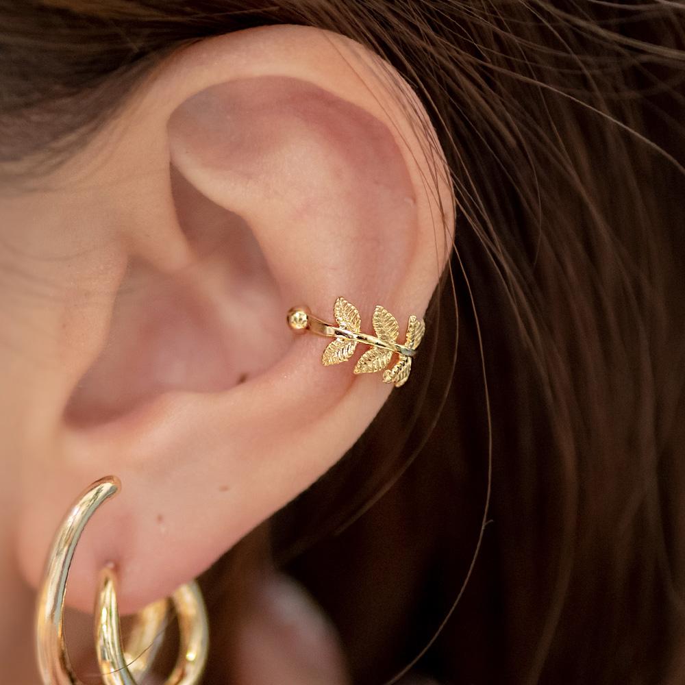 典雅桂冠葉單支耳骨夾(2色)-B40022