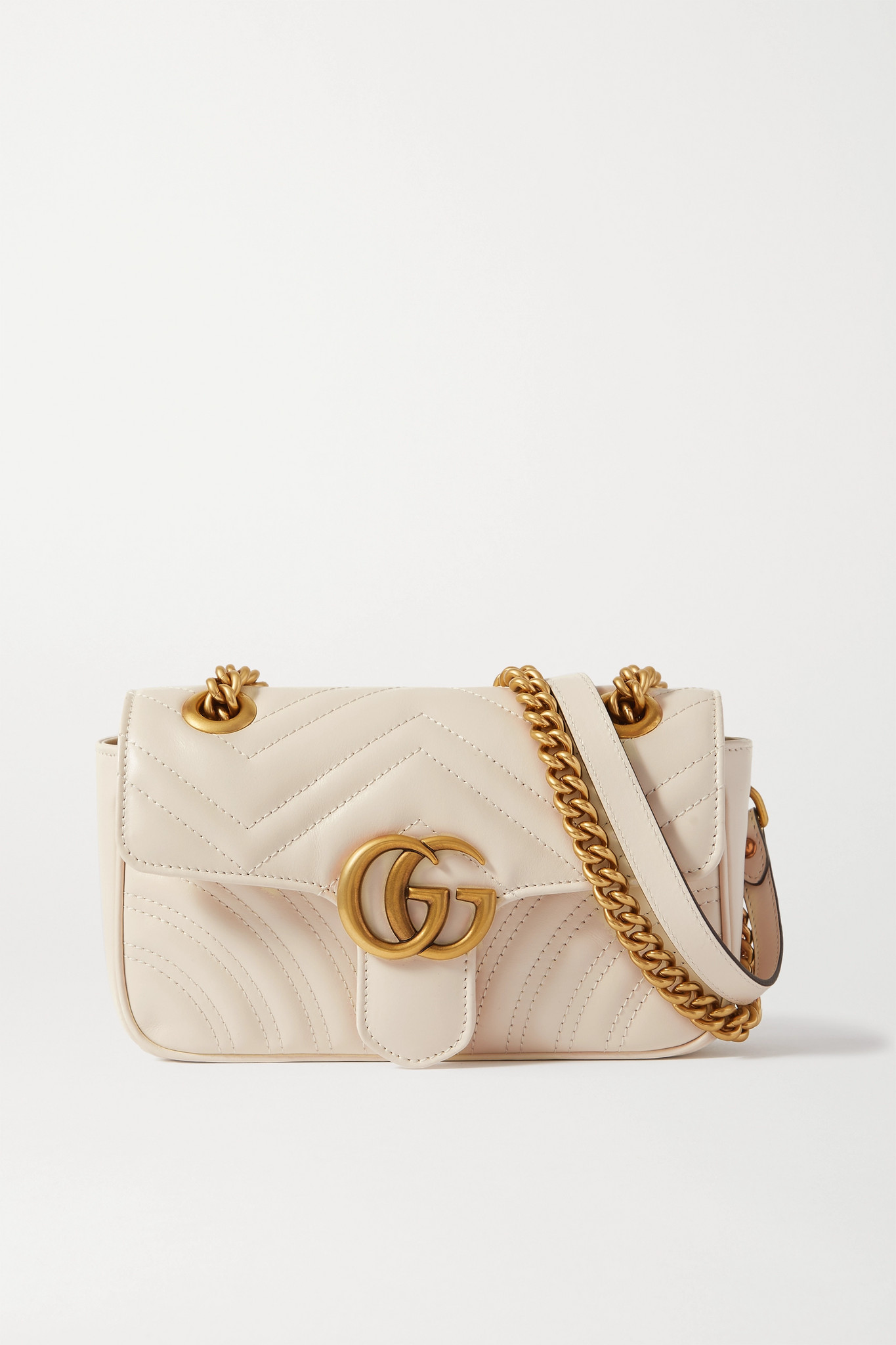 GUCCI - Gg Marmont Quilted Leather Shoulder Bag - White - one size
