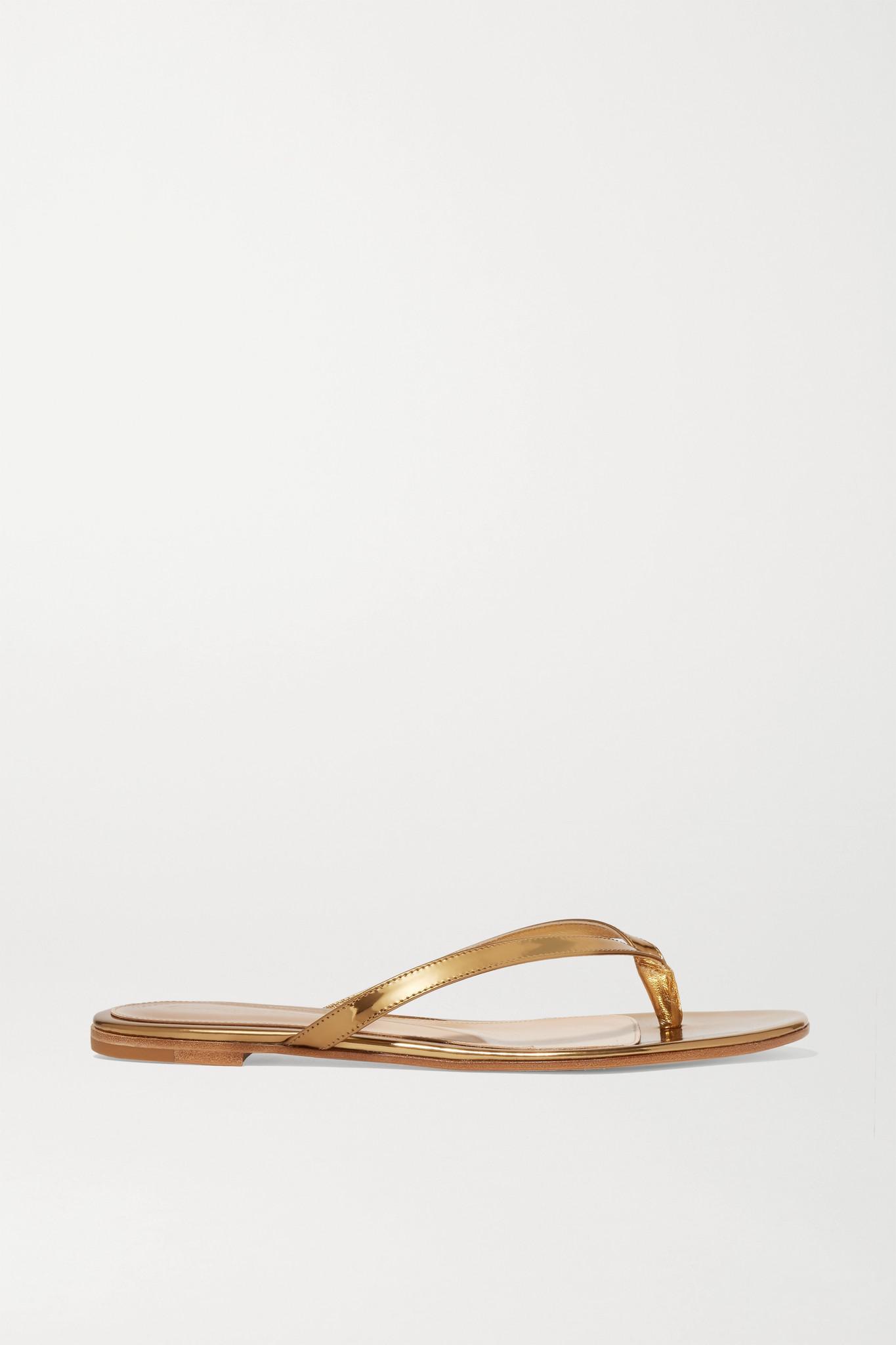 GIANVITO ROSSI - 镜面皮革凉鞋 - 金色 - IT37.5