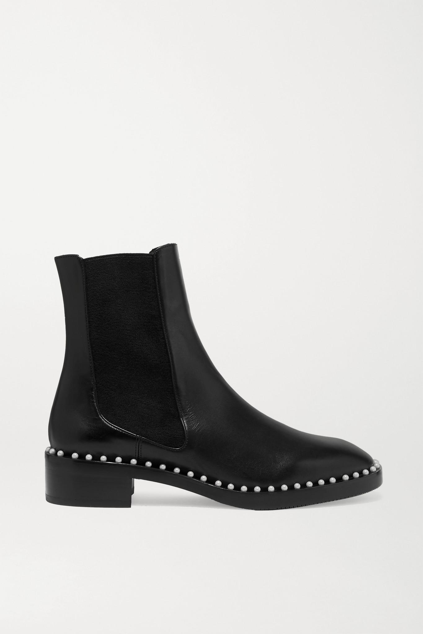 STUART WEITZMAN - Cline 人造珍珠缀饰皮革切尔西靴 - 黑色 - IT38