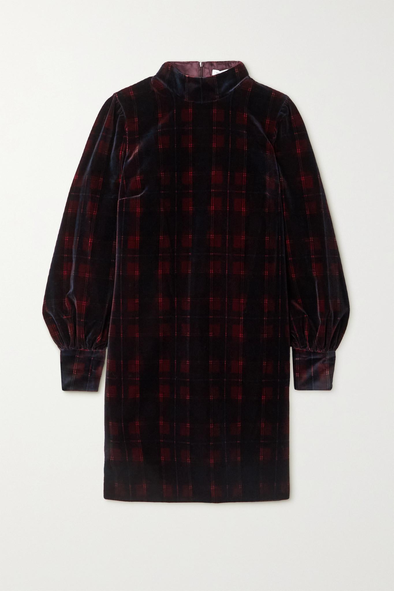 BELLA FREUD - Valley Of The Dolls Checked Cotton-velvet Mini Dress - Burgundy - UK6