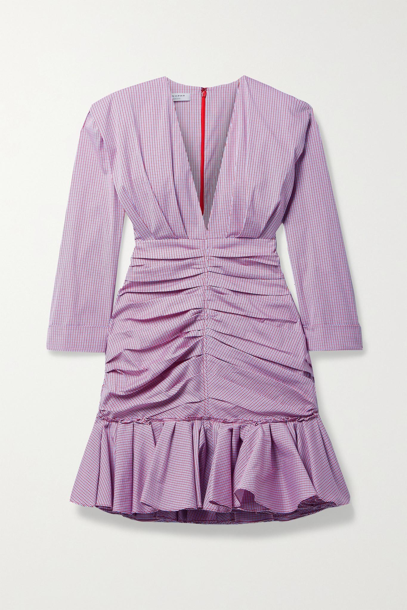 PHILOSOPHY DI LORENZO SERAFINI - 缩褶格纹棉质混纺府绸迷你连衣裙 - 紫色 - IT40
