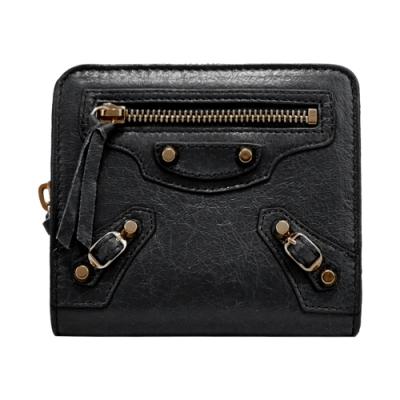 BALENCIAGA 巴黎世家 經典小羊皮銅扣零錢/短夾(黑)