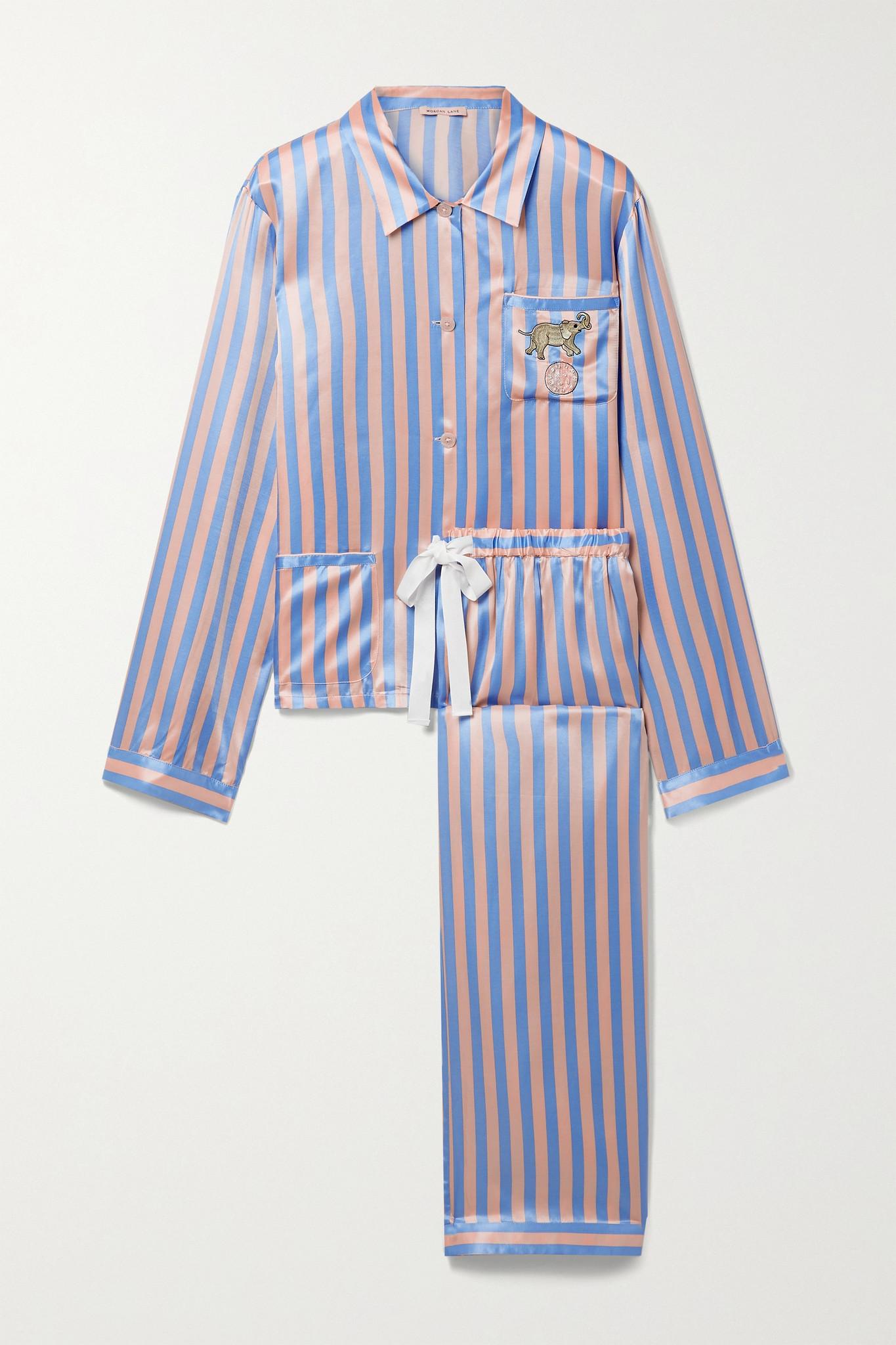 MORGAN LANE - Ruthie Chantal Embellished Embroidered Striped Satin Pajama Set - Pink - large