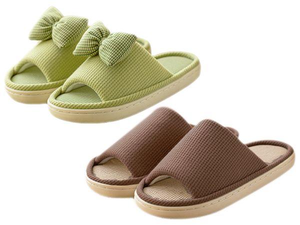 春漾蝴蝶結棉麻拖鞋(1雙入) 顏色/尺寸可選【DS000114】