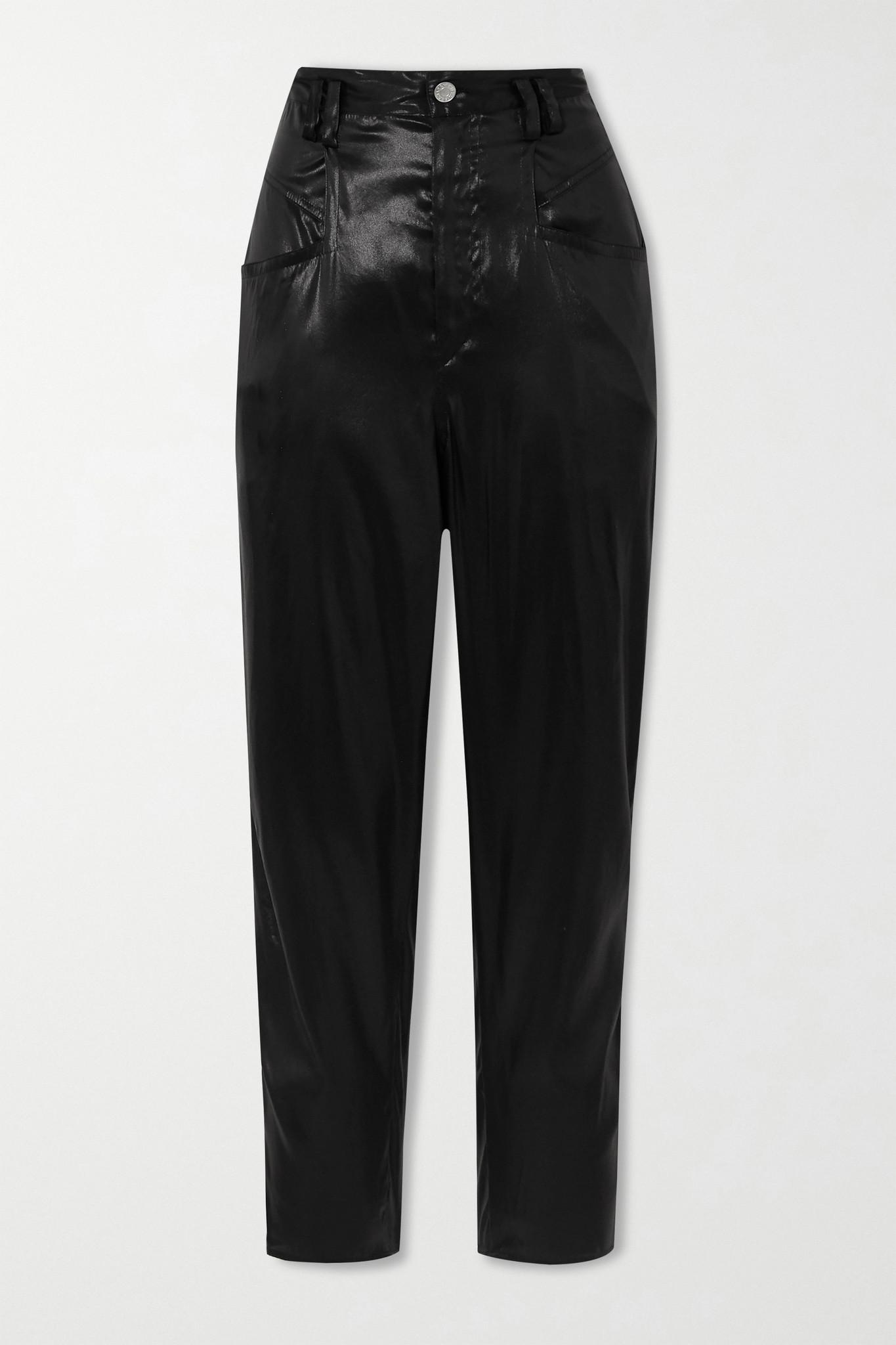 ISABEL MARANT - Oversized Silk-satin Tapered Pants - Black - FR36