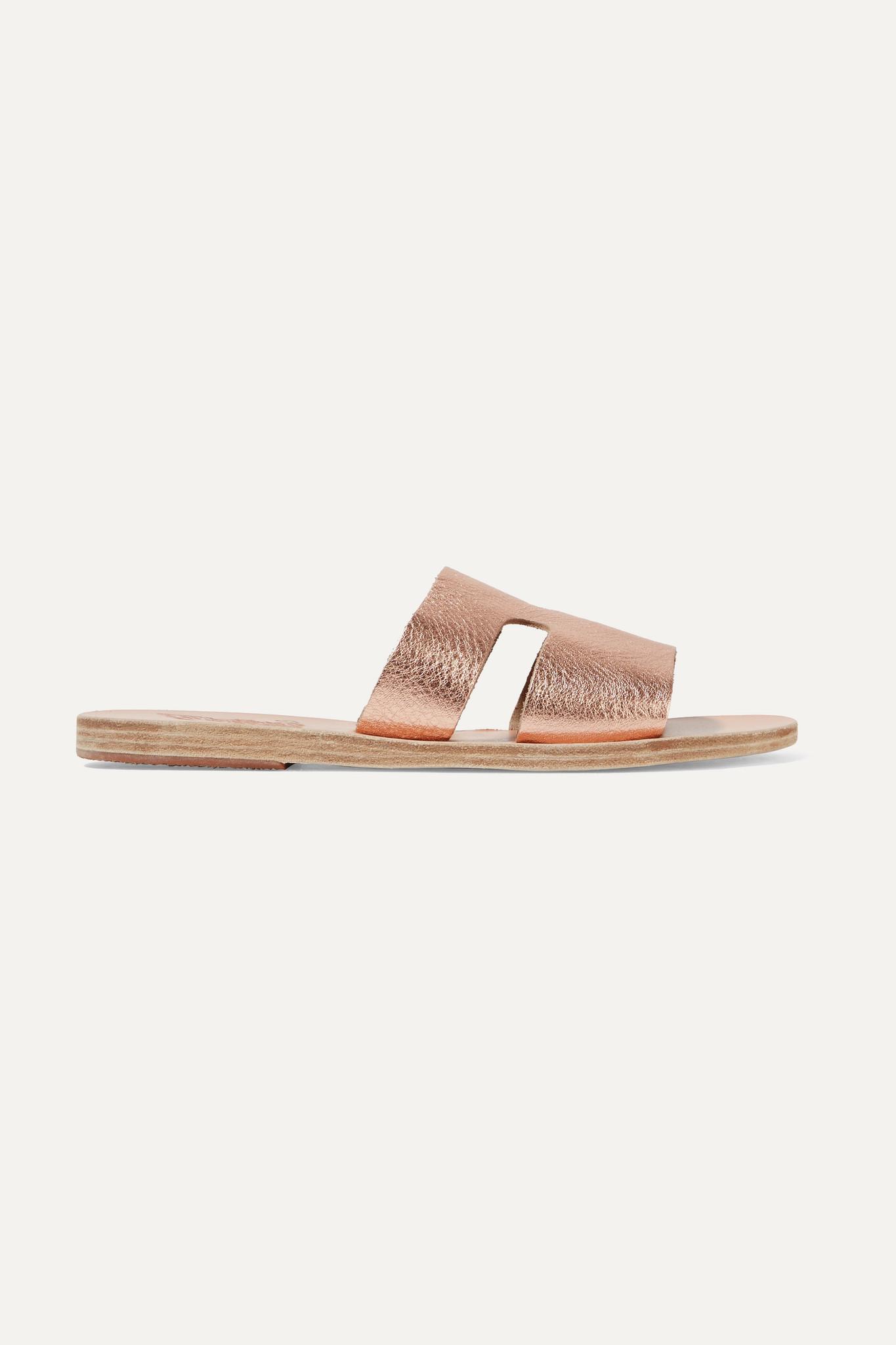 ANCIENT GREEK SANDALS - Apteros 编织酒椰叶纤维皮革拖鞋 - 粉红色 - IT40