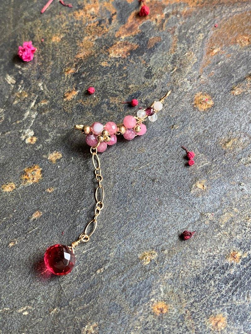花見櫻花 天然粉紅碧璽 紅石英石 單邊14KGF無痛耳夾-耳針共用