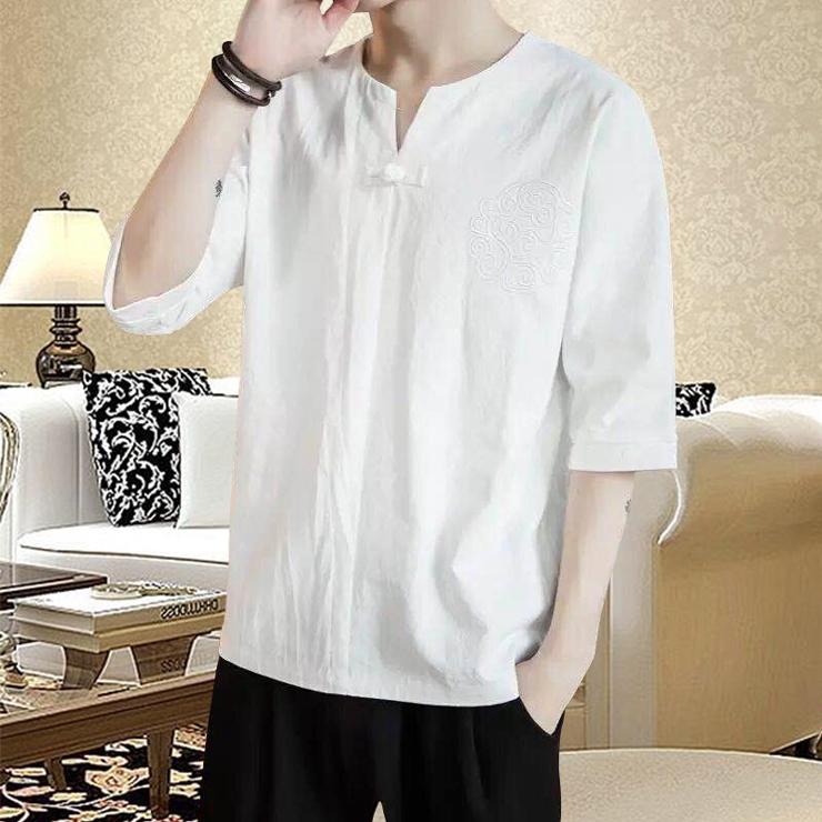 男士棉麻T恤 M-3XL 民族風七分袖T恤 素色V領上衣 中式復古 漢服 素色簡約百搭襯衫 唐裝 茶服 現貨 男生衣著