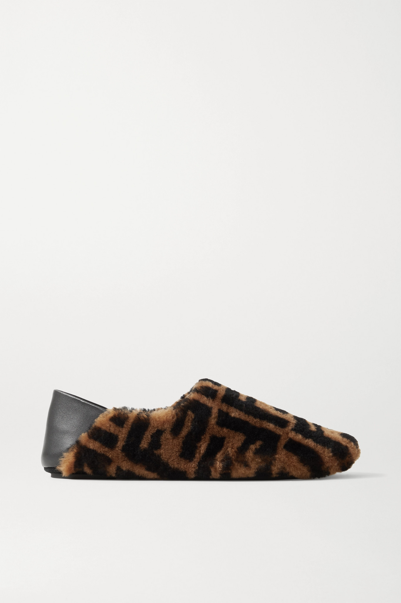FENDI - Leather-trimmed Logo-print Shearling Collapsible-heel Slippers - Brown - IT35
