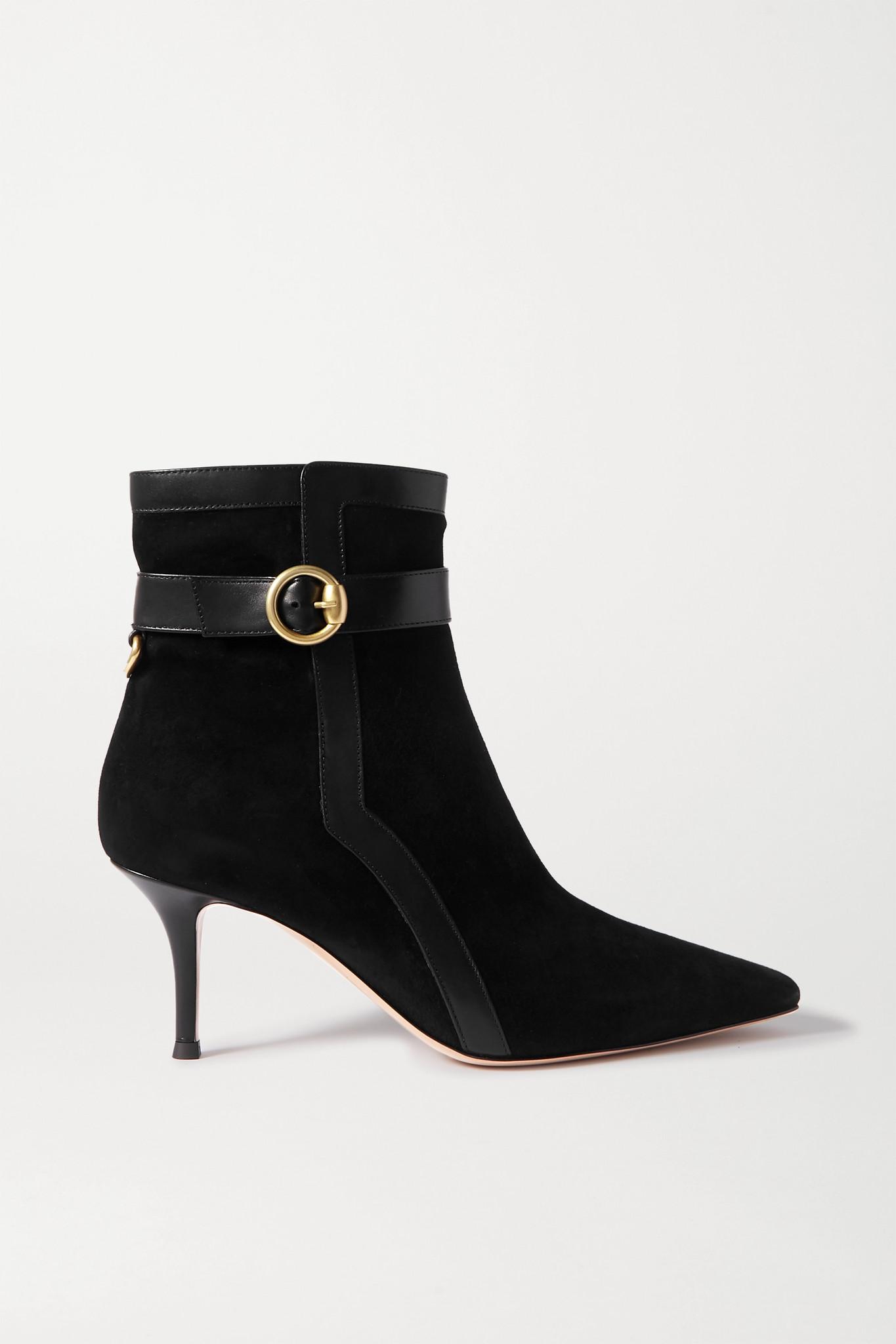 GIANVITO ROSSI - 70 皮革边饰绒面革踝靴 - 黑色 - IT38