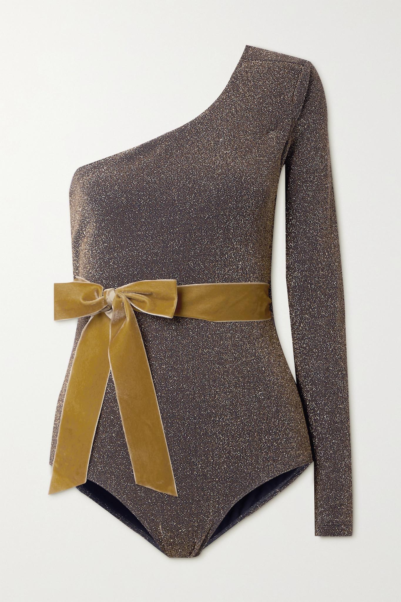 ARTCLUB - + Net Sustain Miller One-sleeve Velvet-trimmed Stretch-lurex Bodysuit - Brown - medium