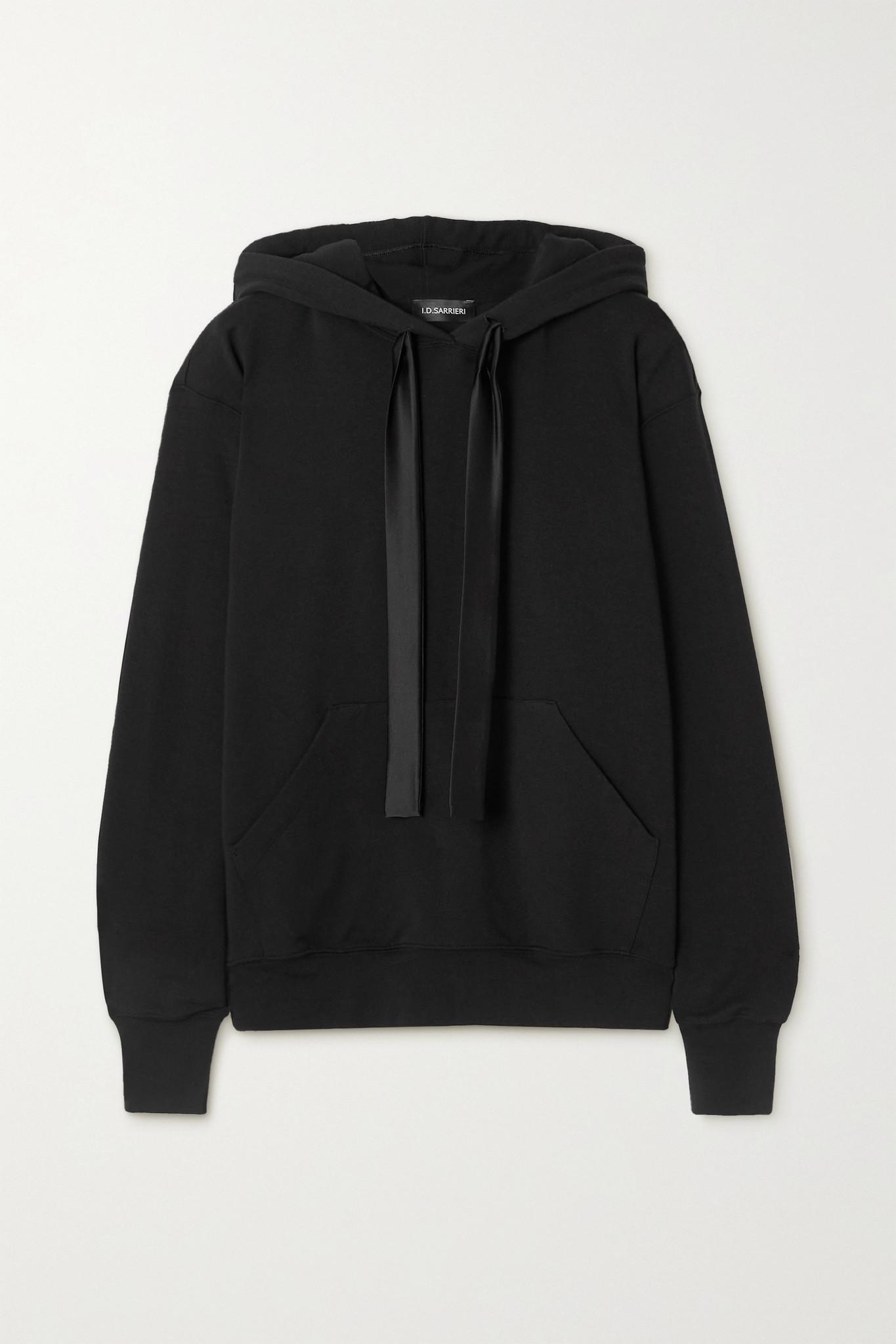 I.D. SARRIERI - 缎布边饰棉质混纺平纹布帽衫 - 黑色 - small