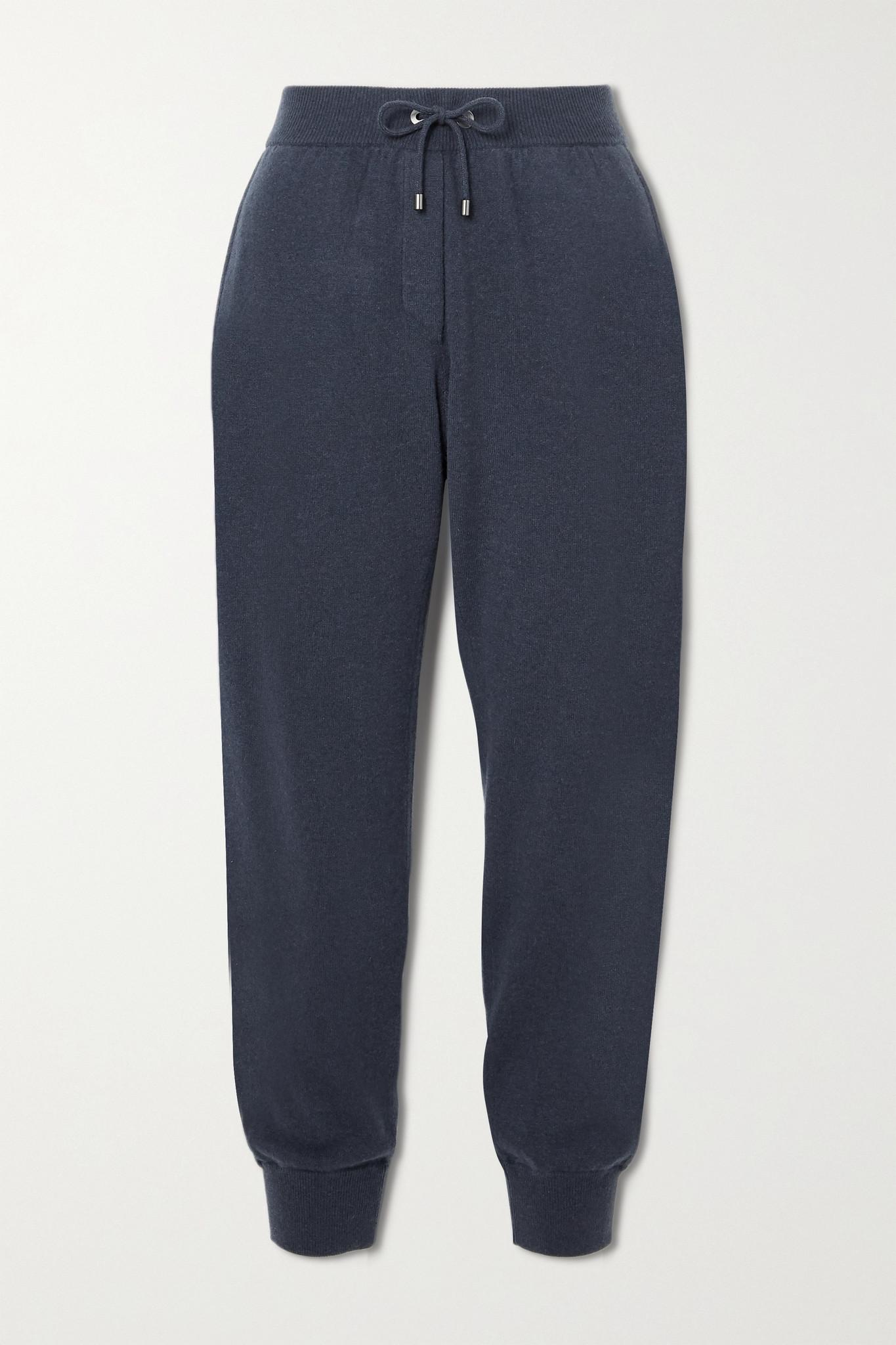 BRUNELLO CUCINELLI - 珠饰缀饰羊毛羊绒真丝混纺九分运动裤 - 蓝色 - x small