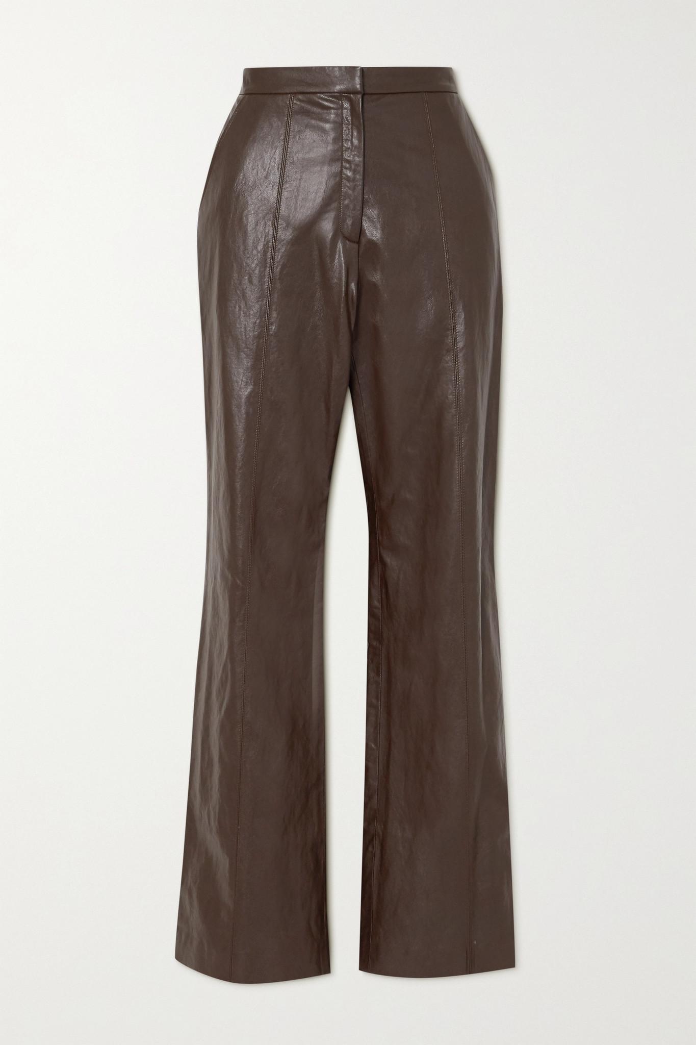 LVIR - 人造皮革直筒裤 - 棕色 - FR40