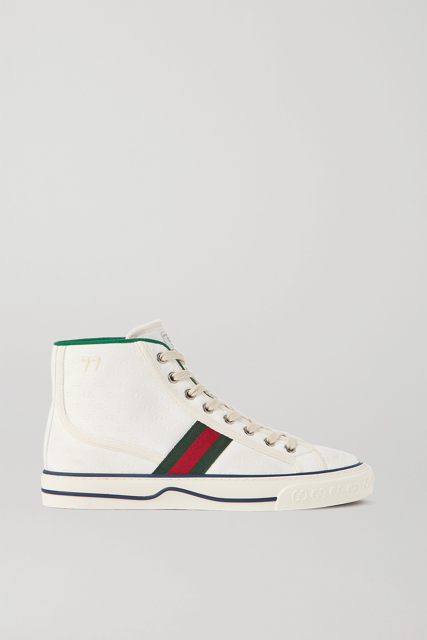 GUCCI - Tennis 1977 Logo-embroidered Printed Canvas High-top Sneakers - White - IT34