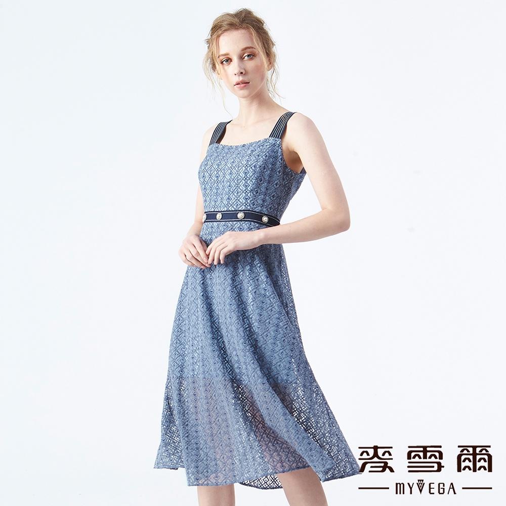【麥雪爾】幾何立體蕾絲水鑽寬肩帶洋裝
