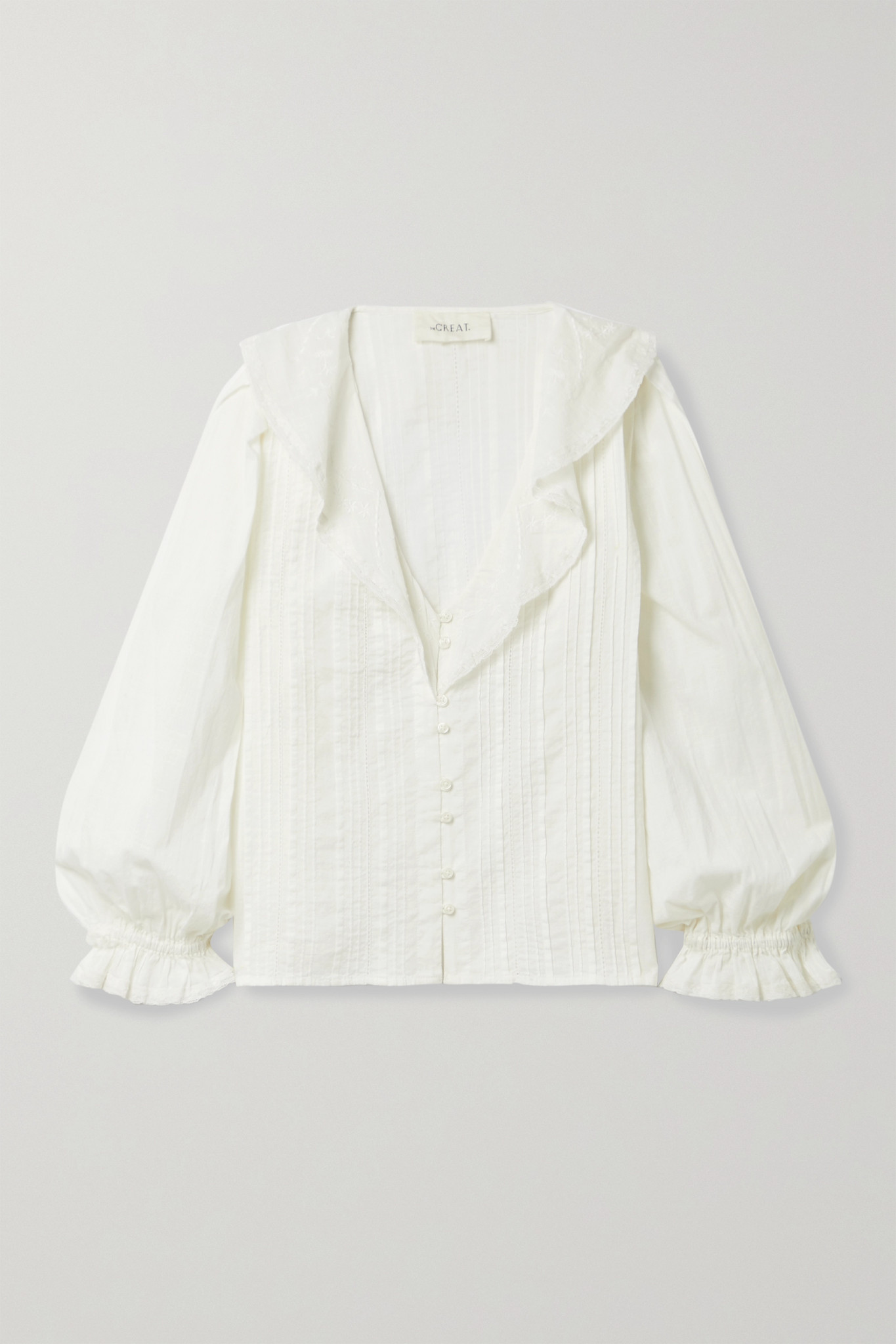 THE GREAT. - The Hankie Lace-trimmed Pintucked Cotton-voile Blouse - White - 2